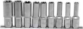 Set di chiavi a bussola profilo E, profondita 12,5 mm (1/2) E10 E24 9 pezzi