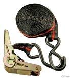 Cinturino di ancoraggio a cricchetto, lungo 5 m, largo 24 mm, con due ganci solidi