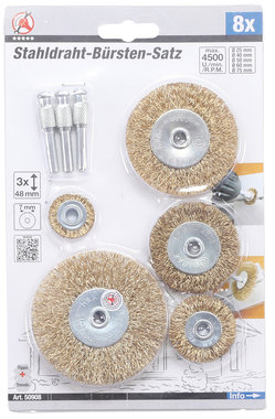 Set di 8 spazzole in filo d'acciaio in 8 pezzi