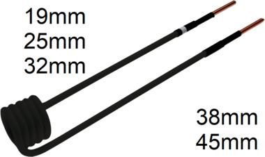 Bobina di induzione per riscaldatore ad induzione piegata a 90°