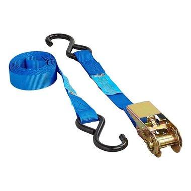 Cinghia di fissaggio blu con cricchetto + 2 ganci 3,5 metri
