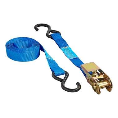 Cinghia di fissaggio blu con cricchetto + 2 ganci 5 metri