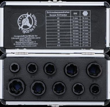 Set speciale di tappi a torsione in 10 pezzi, 9-19 mm, 3/8