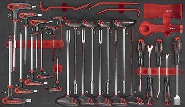 Set di chiavi a brugola in schiuma e a sfera 29 pezzi