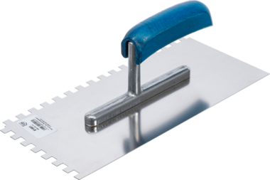 Spatola dentata acciaio inox dentatura rettangolare 280 x 130 mm