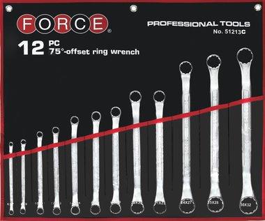 Set di chiavi ad anello doppio 12 pezzi (75° piegato)