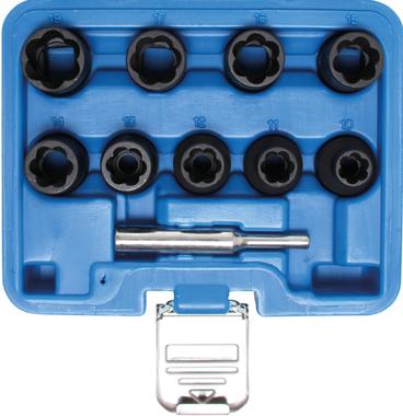 Serie di bussole esagonali / cacciaviti con profilo elicoidale (1/2) 10 - 19mm 10 pz