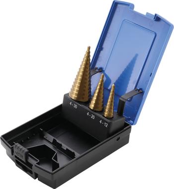 Trapano a gradino, titanio, 4-30 mm 3 pezzi