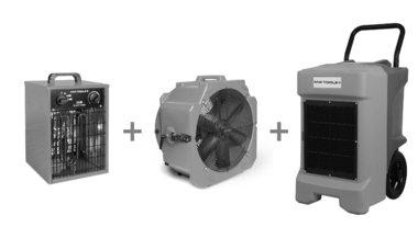 Asciugatrice Pack BDE95 + ventilatore MV500PPL + soffiante ad aria calda WEL33