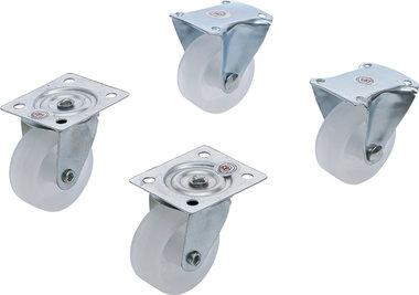 Set di ruote girevoli e fisse in 4 pezzi, 40 mm