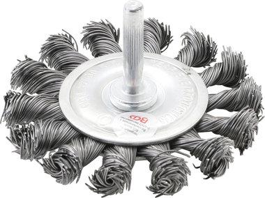 Spazzola a disco in filo dacciaio ritorto 6 mm diametro albero 75 mm