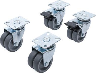 Serie di ruote fisse e piroettanti per sedie da spiaggia Ø 75 mm 4 pz