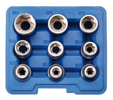 Torx interno, set di tappi profilo E, 9 parti