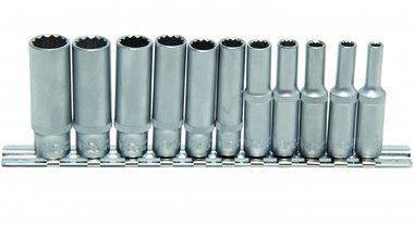 Set di chiavi a tubo, profondo, 12 lati, 6,3 (1/4), 11 pezzi