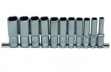 Set di chiavi a tubo, profondo, 12 lati, 10 (3/8), 11 pezzi