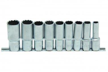 Set di chiavi a tubo, profondo, 12 lati, 12,5 (1/2), 9 pezzi