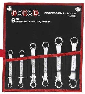 Set di chiavi ad anello mini 6 pezzi (45 curvo)