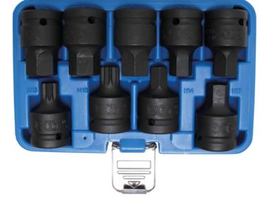 Set di calotta Impact Bit Cap 20 mm (3/4) azionamento esagono interno, scanalatura interna (per XZN) 9 puzzati