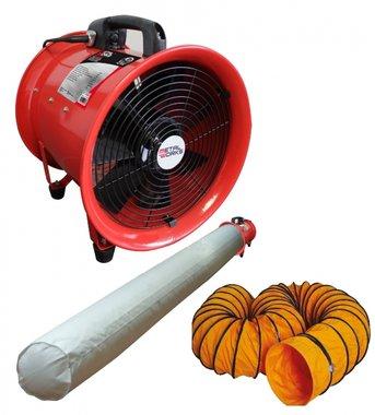 Ventilatore 300mm - 500w con tubo di scarico e sacco filtrante