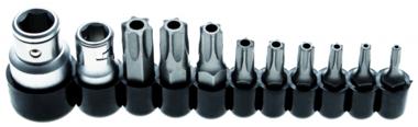 Set di bit drive 10 mm (1/4) / 10 mm (3/8) Torx a prova di manomissione