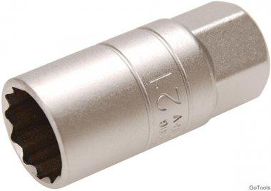 Presa per candele di accensione con supporto in gomma, 12 punti (1/2) Azionamento 21mm