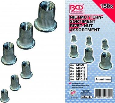 150 pezzi Rivetto Gamma di rivetti dadi, alluminio