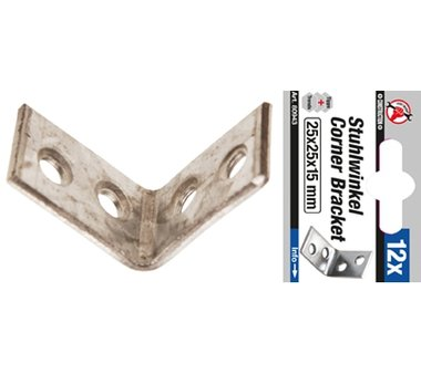 Set di 12 pezzi di staffe in acciaio 25 x 25 x 25 x 15 mm