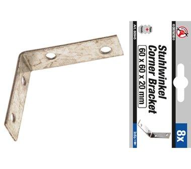 Set staffa in acciaio in 8 pezzi 60 x 60 x 60 x 20 mm