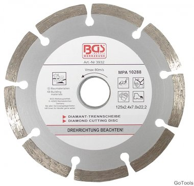 Disco diamantato, taglio a secco, segmentato, 125 mm
