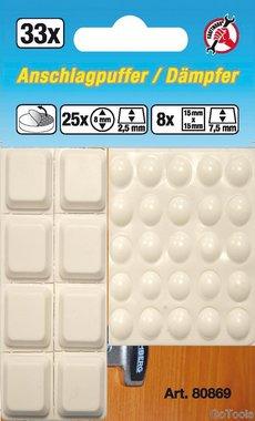 Set di tappi elastici a 33 pezzi, di forma quadrata, bianco, autoadesivo