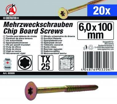 Viti per pannelli truciolari, 6,0 x 100 mm, T25, 20 pezzi