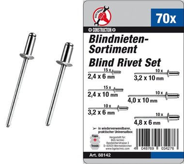 70-delige blindklinknagels Assortiment