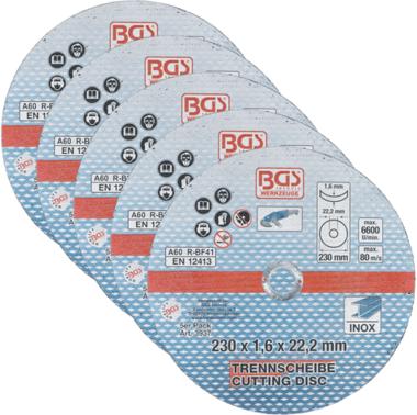 Dischi abrasivi per acciaio inox 230 x 1,6 mm, 5 pezzi
