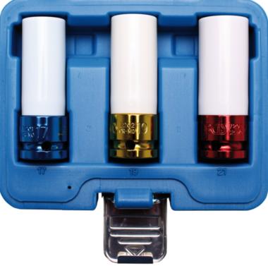 Set di tappi per effetti protettivi in 3 pezzi, 1/2 con coperchio in plastica, 17-19-21 mm