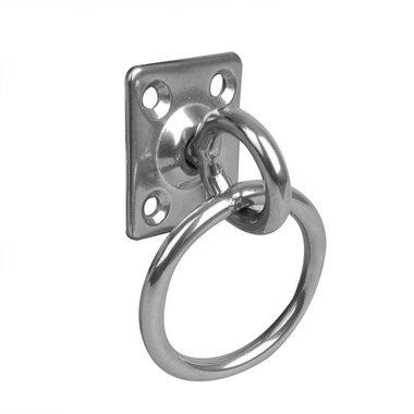 Occhiello con girevole e anello, 33x38x6mm, acciaio inox AISI 316, 4 fori