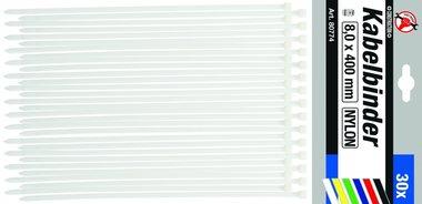 Set di 30 fascette per cavi in 30 pezzi, 8,0 x 400 mm