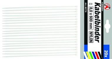 Set di 20 fascette per cavi in 20 pezzi 8,0 x 600 mm
