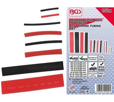 Assortimento di tubi termoretraibili Rosso / nero 150 pezzi.