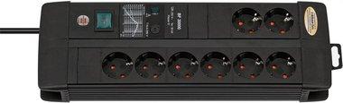 Presa Premium-Line 30.000 A con protezione da sovratensione 8-gang Duo nero 3m