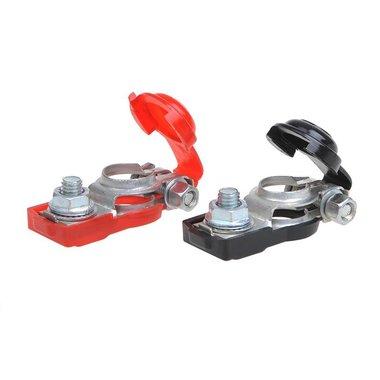 Set morsettiere batteria (+) e (-) con protezione in plastica rosso