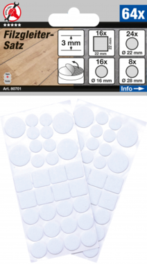 Set di scorrimento in feltro bianco 64 pezzi