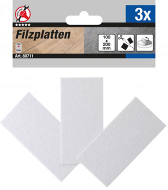 Piastre di scorrimento in feltro bianco 100 x 200 mm 3 pezzi
