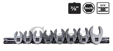 Set di chiavi a piede di corvo, 8 pezzi, 3/8, pollice 3 / 8-7 / 8-7 / 8