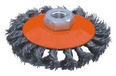 Spazzola piatta in acciaio, tipo annodato, diametro 125 mm